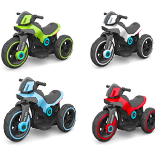 אופנוע 3 גלגלים ממונע POLICE 6V לגילאי 2-5 קטן