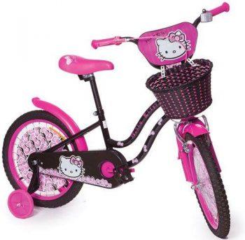 """אופניים לילדים עם גלגלי עזר מידה """"18 אינץ"""" – הלו קיטי"""