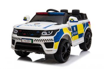 מכונית משטרה 12V בצבע לבן,